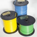 Three spools of tracer wire